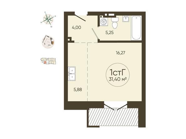 1-комнатная 31,40 кв.м