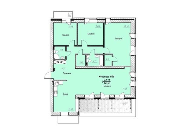 Планировка 4-комн 148,55 м²