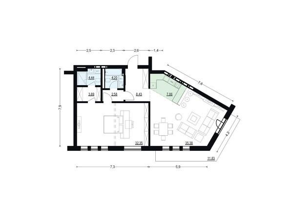 Планировки Жилой комплекс ЖУКОВКА, б/с 7,8 - Планировка двухкомнатной квартиры 98,33 кв.м