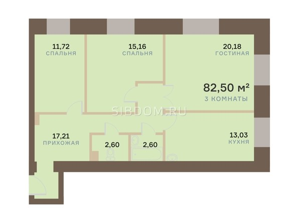Планировка 3-комн 82,5, 82,54 м²