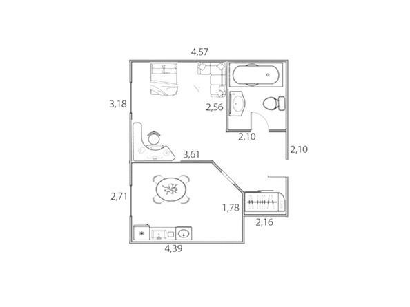 Планировки Жилой комплекс ЮЖНЫЙ, дом «Рубиновый» - Планировка однокомнатной квартиры 37,5 кв.м