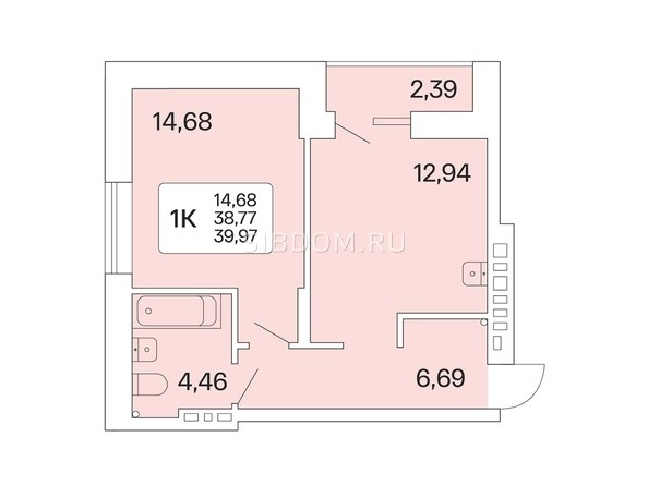 1-комнатная 39,97 кв.м