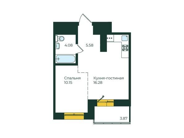 1-комнатная 39,96 кв.м