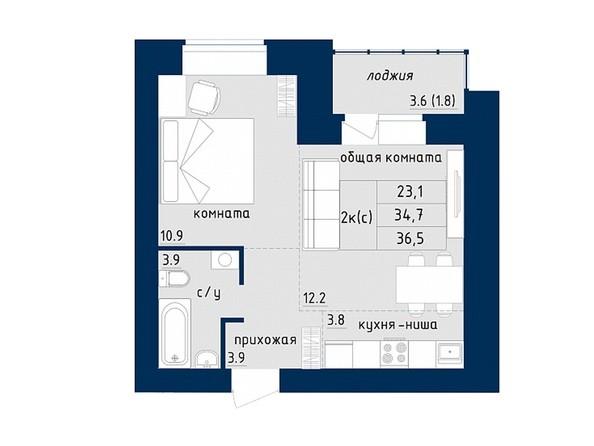 2-комнатная 36.5 кв.м