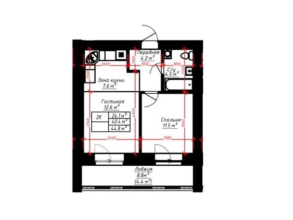 2-комнатная 44.8 кв.м