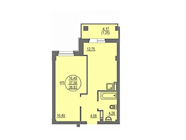 1-комнатная 38.83 кв.м