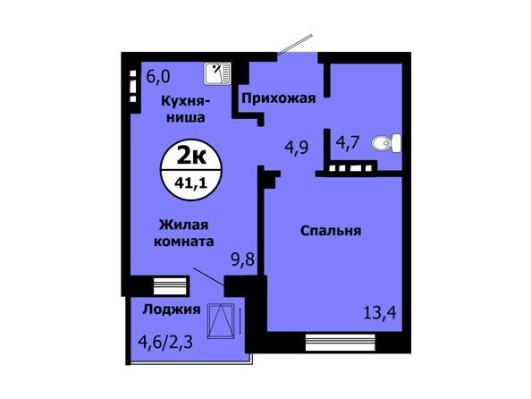 Планировка 2-комн 41,1 м²