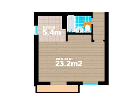 Планировки Жилой комплекс Артельный, 7 - Планировка однокомнатной квартиры 40,6 кв.м