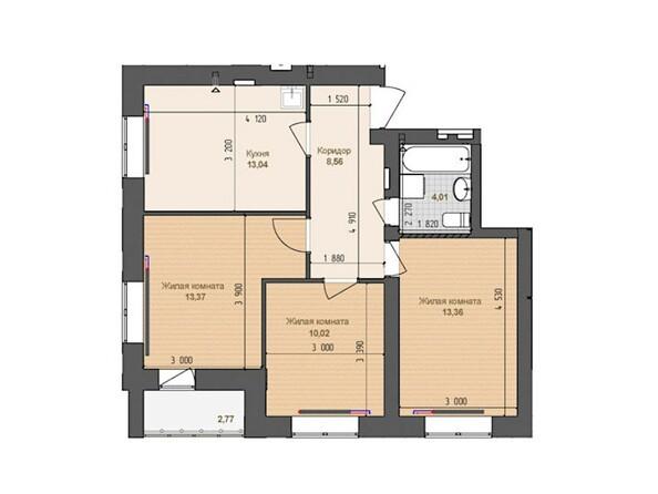 3-комнатная 62.36 кв.м
