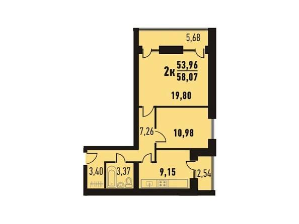 Планировки Жилой комплекс Северный парк, дом 13 - Планировка двухкомнатной квартиры кв.м