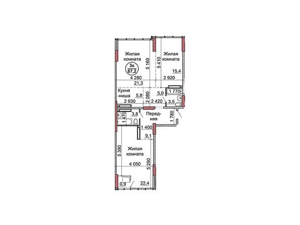 Планировки Жилой комплекс Пролетарская, 165 - Планировка трёхкомнатной квартиры 87,2 кв.м