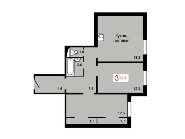 Планировка 3-комн 63,1 м²
