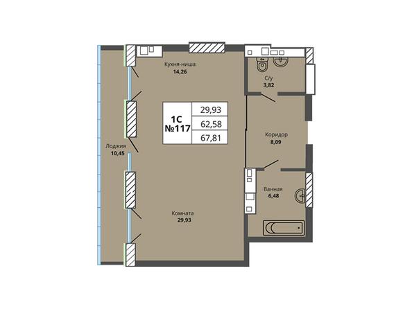 Планировки Жилой комплекс PRIME HOUSE (Прайм хаус) - Планировка однокомнатной квартиры 62,58 кв.м