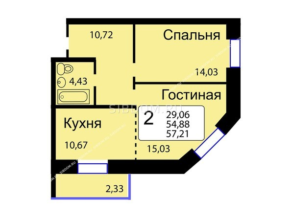 Планировки Жилой комплекс РЯБИНОВЫЙ САД, 3 оч, 2 этап - Б/С - 12. Планировка двухкомнатной квартиры 57,21 кв.м. Этажи 10-16.