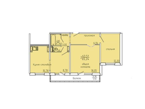 Планировки Иннокентьевский, 3 мкр, дом 6 - Планировка двухкомнатной квартиры 65,24 кв.м