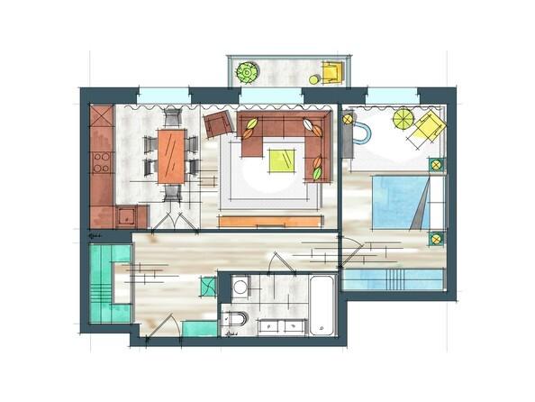 Планировки Жилой комплекс ПРЕОБРАЖЕНСКИЙ, дом 22, этап 2 - Планировка двухкомнатной квартиры 61,8 кв.м
