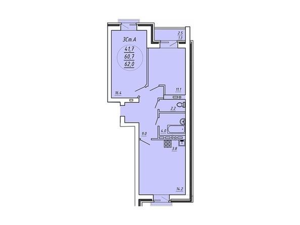 3-комнатная 62 кв.м
