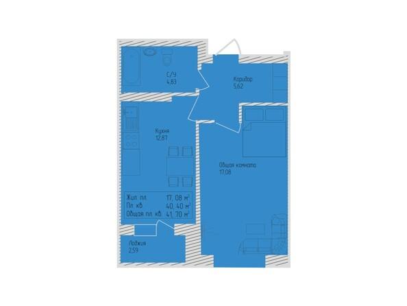 Планировки Жилой комплекс СЕВЕРО-ЗАПАДНАЯ, дом 5 - 1-комнатная 41,7 кв.м
