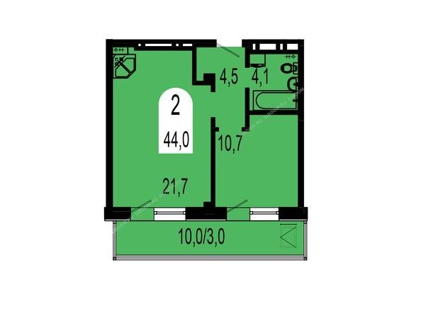 Планировки Жилой комплекс ТИХИЕ ЗОРИ, дом 1 (Красстрой) - Планировка двухкомнатной квартиры 44 кв.м