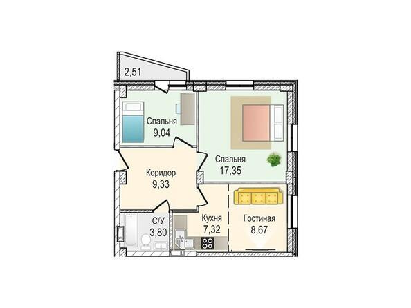 Планировки Жилой комплекс КрымSky, дом 7 - 3-комнатная 55,51 кв.м