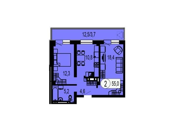 Планировка двухкомнатной квартиры 55,0 кв.м