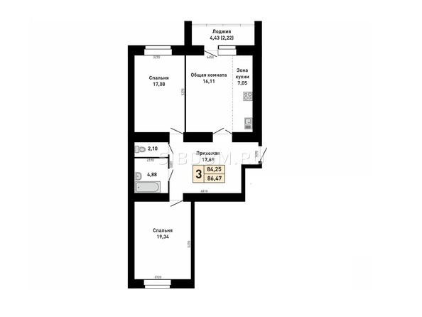 3-комнатная 84,47 кв.м