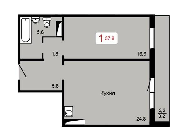 Планировка 1-комн 57,8 м²