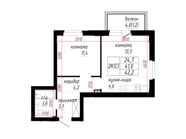 2-комнатная 41; 42.2 кв.м