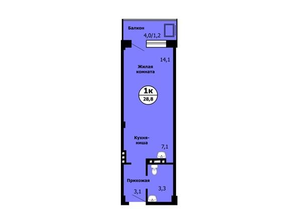 Планировка Студия 28,7, 28,8 м²