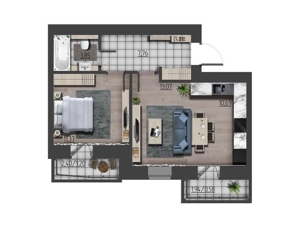 Планировки Жилой комплекс ПРЕОБРАЖЕНСКИЙ, дом 9 - 2-комнатная 48,52 кв.м
