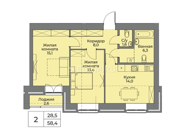 Планировка 2-комн 58,4 м²