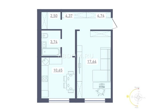 Планировка 1-комн 43,6, 43,64 м²