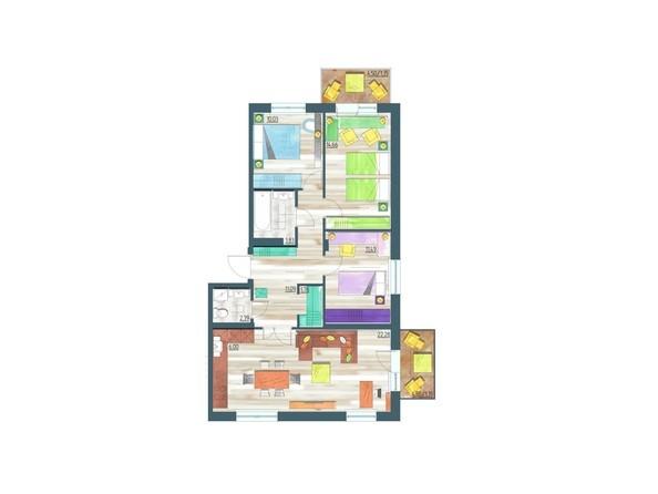 Планировки Жилой комплекс ЖИВЁМ эко-район, 10 квартал, дом 1 - Планировка четырехкомнатной квартиры 86,25 кв.м