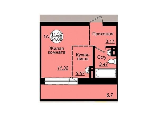 Планировки Жилой комплекс ГВАРДЕЙСКИЙ - Планировка однокомнатной квартиры 24,88 кв.м
