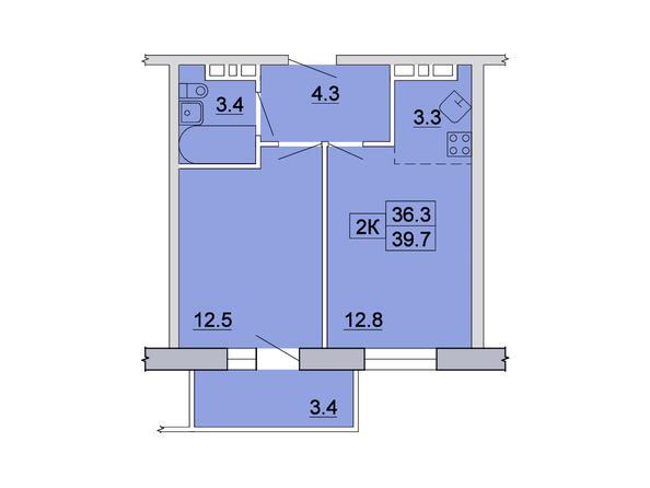 Планировка 2-комн 39,7, 39,9 м²