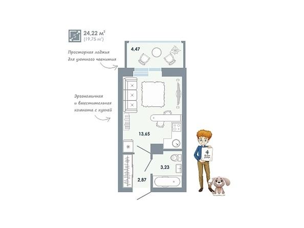 Планировки Жилой комплекс ЧИСТАЯ СЛОБОДА, дом 32 - Планировка однокомнатной квартиры 24,22 кв.м
