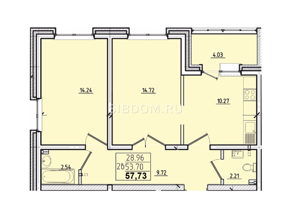 2-комнатная 57,73 кв.м.