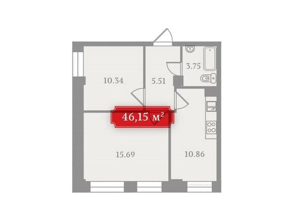 Планировки Жилой комплекс УСПЕНСКИЙ-3, б/с 2 - Планировка двухкомнатной квартиры 46,15 кв.м