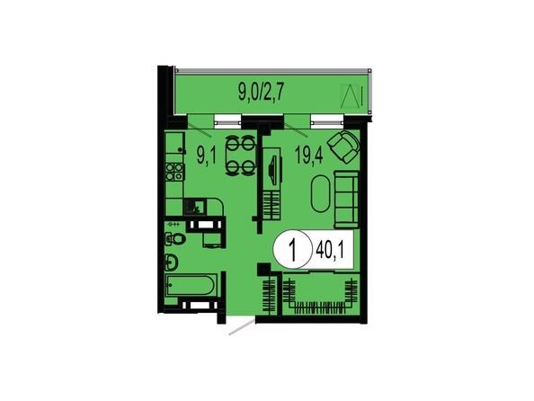 Планировка однокомнатной квартиры 40,1 кв.м