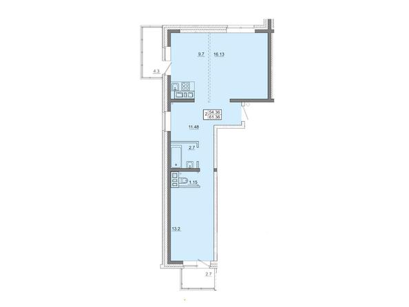 2-комнатная 61,36 кв.м