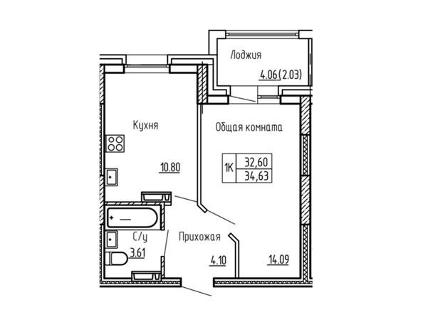 1-комнатная 34.63; 34.45 кв.м