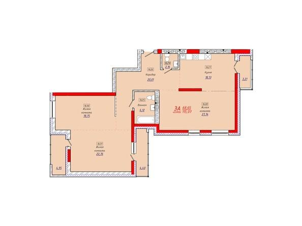 Планировки Жилой комплекс КЛАРУС-ПАРК - Планировка трехкомнатной квартиры 115,07 кв.м.