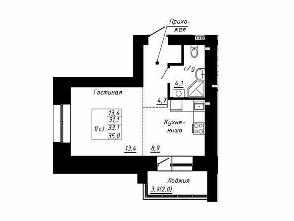 Планировка 1-комн 33,1 м²