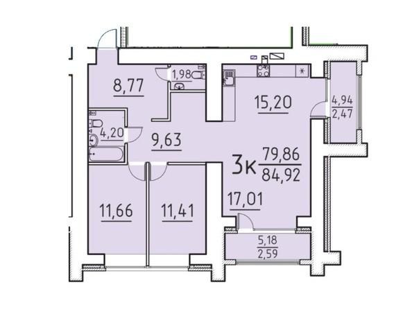 Планировка 3-комн 79,86, 84,92 м²