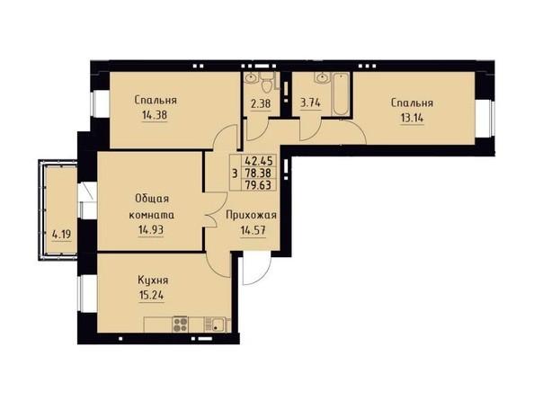 Планировка 3-комн 79,63 м²