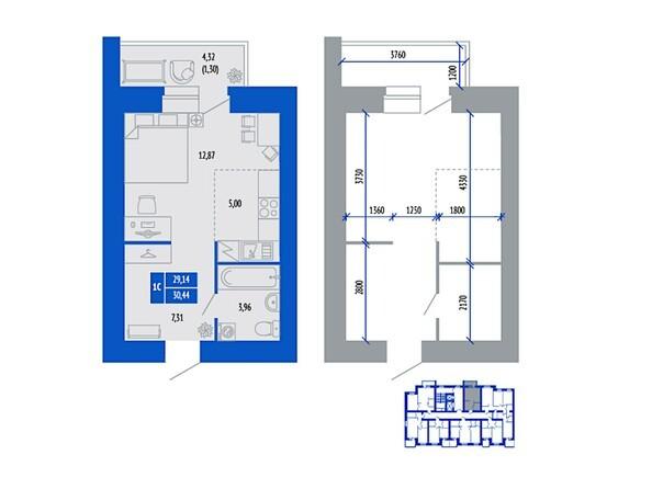1-комнатная 30.44 кв.м