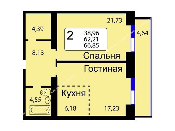 Планировки Жилой комплекс РЯБИНОВЫЙ САД, 3 оч, 2 этап - Б/С - 12. Планировка двухкомнатной квартиры 66,85 кв.м. Этажи 10-16.