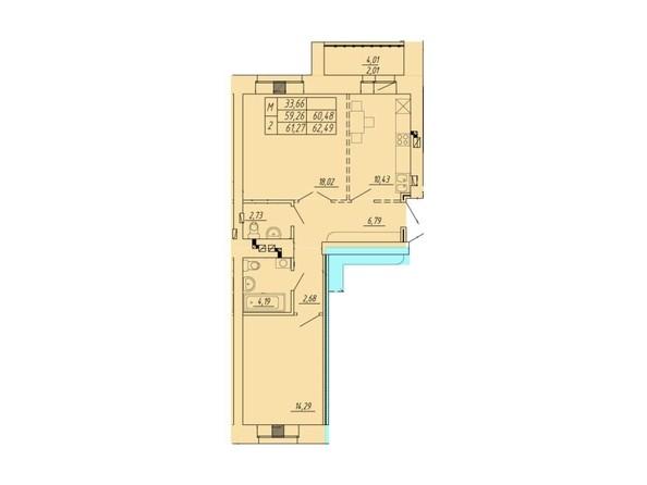 Планировка 2-комн 59,26 - 62,49 м²