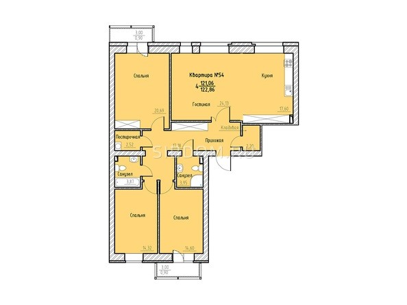 Планировка 4-комн 122,86 м²