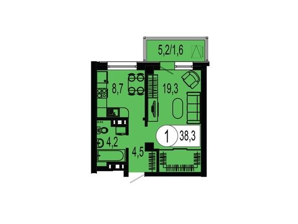 Планировка однокомнатной квартиры 38,3 кв.м